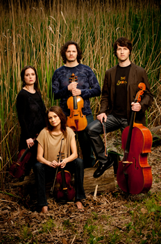 Voxare String Quartet: Clockwise from bottom: Galina Zhdanova, violin; Emily Ondracek-Peterson, violin; Erik Peterson, viola; Adrian Daurov, cello photo: Greg Kessler
